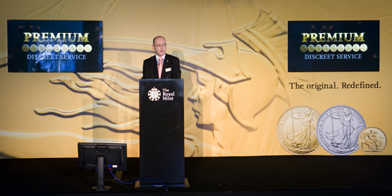 The Royal Mint's Director of Bullion and Commemorative Coin, Shane Bissett, announces the Mint's new bullion and bullion vault storage proposition at a reception in the Tower of London this week.