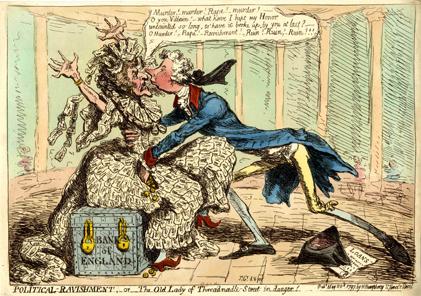 'The Old Lady of Threadneedle Street in Danger!' The 'Old Lady' is a thin old harridan, dressed entirely in 'One' pound notes, and seated on an iron-studded treasure-chest inscribed 'Bank of England', fastened by two heavy padlocks; print made by James Gillray; 1797; hand-coloured etching.