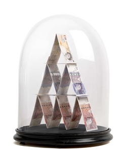 House of Cards: Sculpture by Justine Smith, a London based artist entitled 'House of Cards'; The artist has stacked genuine UK GBP10, GBP20 and GBP50 notes instead of the playing cards, symbols of gambling, that typically make up a house of cards © Justine Smith 2012.