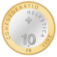 Schweiz / 10 CHF / Aluminiumbronze und Kupfernickel / 33 mm / 15 g / Design: Sylvia Bühler / Auflage: 92.000 (Unzirkuliert) bzw. 11.500 (Polierte Platte).