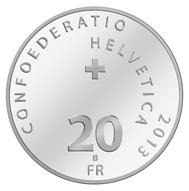 Schweiz - 20 CHF / .835 Silber / 33 mm / 20 g / Design: Angelo Boog / Auflage: 50.000 (Unzirkuliert) bzw. 7.000 (Polierte Platte).