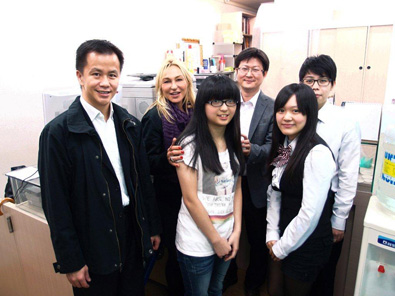 Muriel Eymery (second from left) and Jim Lam (to the left of Eymery) visited Silver House Chia-Yin Li (to the right of Eymery) and his team.