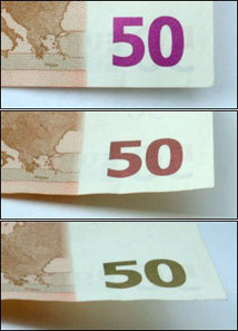 Colour change of a 50 euro banknote if tilted. Source: Anton / Wikipedia.