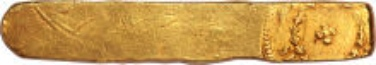 20189: Pedro II gold Ingot of Serro Frio 1832, Prober 1832-SF-114, accompanies original Guia. Estimate: $150,000-200,000. Realized: $188,000.