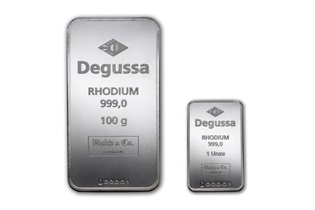 Die beiden neuen Rhodiumbarren der Degussa Goldhandel GmbH