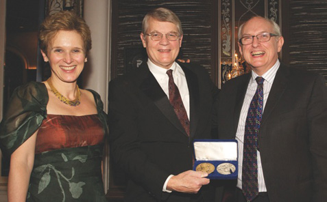 From left: Ute Wartenberg Kagan, ANS Executive Director; Gala Honoree Richard Witschonke, recipient of a Distinguished Service Award; and Andrew Burnett, Deputy Director, The British Museum. Photo: Alan Roche. Courtesy American Numismatic Society