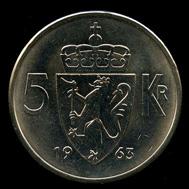 5-kroner coin 1963. Photo: www.skanfil.no.