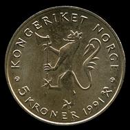 5-kroner coin 1991. Photo: www.skanfil.no.