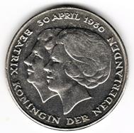 Sondermünze zur Thronbesteigung von Königin Beatrix, 1980. Foto: Angela Graff