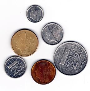Niederländische Umlaufmünzen in Vor-Euro-Zeiten. Foto: Angela Graff