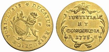 Zürich. Dukat 1775. Aus Auktion Münzen und Medaillen Deutschland GmbH 27 (2008) 2641
