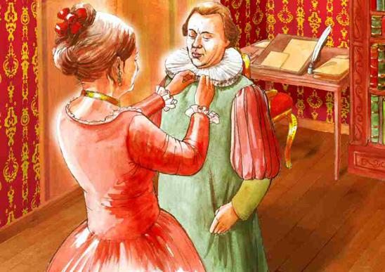 April 18, 1773. Cleophea Waser, née Scheuchzer, helps her husband Johann Heinrich Waser to get ready for the sermon. Drawn by Dani Pelagatti / Atelier bunterhund. Copyright MoneyMuseum Zurich.