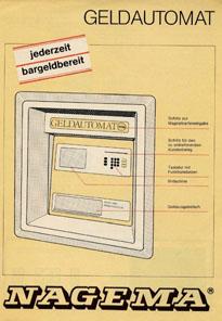 Werbung für den Geldautomaten von NAGEMA. Foto: Angela Graff.