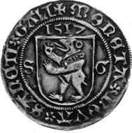 Stadt St. Gallen, Halbdicken 1517. Von dieser Münze sind zwei Exemplare bekannt. Das eine befindet sich in der Stiftsbibliothek St. Gallen, das andere in der Sammlung Tobler (jetzt: Münzkabinett Winterthur).