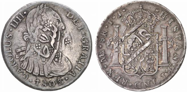 British East Indian Company. Rupee, after 1803, Arkat. Overstruck on an 8 reales piece from Peru from 1803. Künker 131 (2007), 4466.