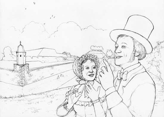 April 1833. Jakob, ein junger Mann, geht mit seiner Braut Berta auf den Zürcher Befestigungsanlagen spazieren. Gezeichnet von Daniel Pelagatti / Atelier bunterhund. Copyright MoneyMuseum / Zürich.