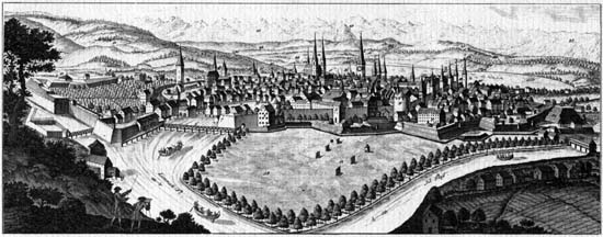 Cityscape of Zurich from 1724 after Johann Melchior Füssli. It was part of a wall calendar republished in several editions since 1724. Source: David Herrliberger / Wikipedia.