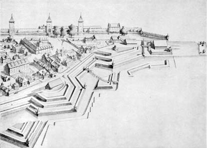 Fortification system around present-day Parade Square in the 18th century. Central library Zurich. Source: Wikipedia.