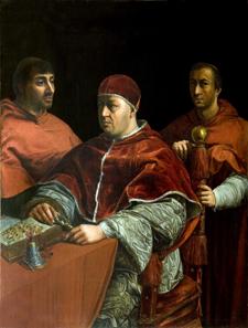 Porträt Papst Leo X. mit den Kardinälen Luigi de' Rossi und Giulio de' Medici. © Su Concessione del Ministero per i Beni e le Attività Culturali.