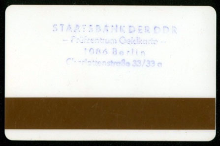 Karte für das Prüfzentrum Geldkarte in Berlin. Foto: J. Peeck.
