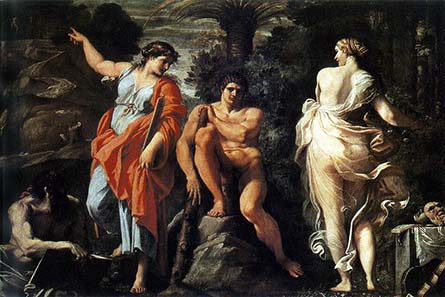 Herakles facing the crucial decision between Virtues and Vices. Painting by Annibale Carraci, ca. 1596. Wikipedia.