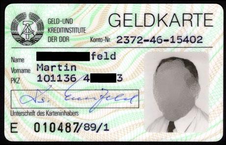 Geldkarte der DDR, Vorderseite. Foto: Angela Graff.