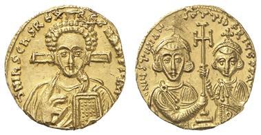 278: Byzanz, JUSTINIANUS II., 2. Regierung, 705-711, Solidus. DOC 2b, MIB 2b, Sear 1415, 4,30 g, vz. Zuschlag: 2.300 Euro, Ausruf: 1.500 Euro.