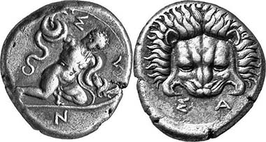 Samos. Tridrachm, ca. 405/4. The infant Herakles strangling two serpents. Rv. Frontal lion's mask. 11,29 g. Barron 1b (this specimen). From Leu Auction 81 (2001), 283.