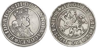 1211: NORWEGEN, Frederik III., 1648-70, Speciedaler, 1650, Christiania, Ahlst. 64, Dav. 3588, R, 28,28 g, ss. Zuschlag: 3.200 Euro, Ausruf: 2.500 Euro.
