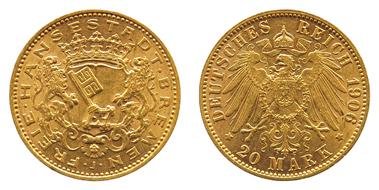 734: Kaiserreich, BREMEN, Freie Hansestadt, 20 M 1906, min. Rf., st-. Zuschlag: 1.900 Euro, Ausruf: 1.000 Euro.