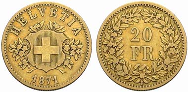 Switzerland. 20 franks 1871 B. Pattern. From auction sale Münzen & Medaillen Deutschland GmbH 22 (2007) 1751.
