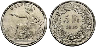 Switzerland. 5 franks 1874 B, Bern. From auction sale Münzen & Medaillen GmbH Deutschland 31 (2009) 622.
