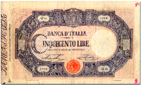 Ciulla's forged 500 lire were so perfect that not even the Banca d'Italia noted that forged banknotes circulated in their own building.