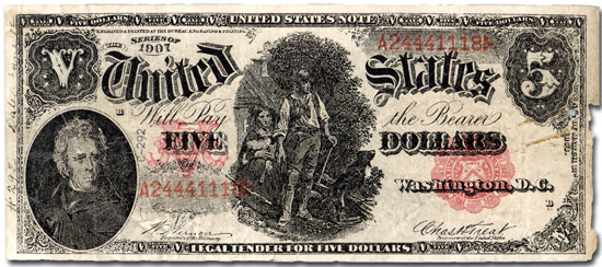 Counterfeit 5 dollar bill produced by the 'Black Hand'.