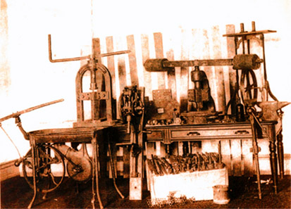 The money press in the illegal workshop of the 'Black Hand' in Calhoun Farm nearby New York.