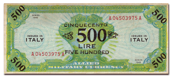 Gefälschter 50-Lire-Geldschein der Alliierten im Zweiten Weltkrieg.