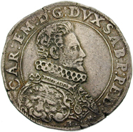 Italy / Duchy Savoy. Carlo Emanuele I (1580-1630). Ducatone, 1588. © Swiss National Museum Inv. ZB-SCH350.