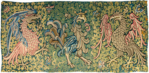 Magnificent birds of paradise. Gobelin, 1450-1500, probably Upper Rhenish. Wool. © Swiss National Museum.