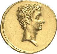 Nr. 547. Römische Kaiserzeit. AUGUSTUS, 27 v. Chr.-14 n. Chr. Aureus, 29-17, Brindisi(?). RIC 268. Aus Kricheldorf 8 (1969), 198. Vorzüglich bis Stempelglanz. Schätzung: 20.000 Euro. Endpreis: 57.500 Euro.