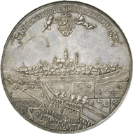 Lot 4051. Historical Medals / Netherlands. FREDERICK HENRY OF ORANGE-NASSAU, 1625-1647. Medal 1645 by J. von Loof on the capture of the city of Hulst. Extremely fine to mint state. Estimate: 6,000 euros. End result: 11,500 euros.