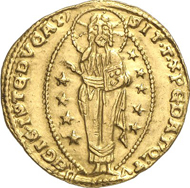 Lot 4592. Italy / Venice. MARINO FALIERO, 1354-1355. Ducat n. y. Paol. 30-1. Slightly bent. Extremely fine. Estimate: 3,000 euros. End result: 23,000 euros.