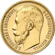 Lot 5132. Russia. NICHOLAS II, 1894-1917. Imperial - 10 rouble gold 1897, St. Petersburg Mint. Bitkin 319. Ex WCN A 46 (6/2011), 1100. Of utmost scarcity. About mint state. Estimate: 100,000 euros. End result: 172,500 euros.