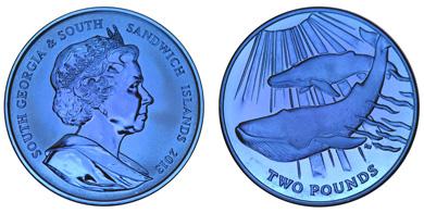 South Georgia & South Sandwich Islands / 2 GPB / blue titanium .990 / 10g / 36.10mm / Mintage: 5,000.
