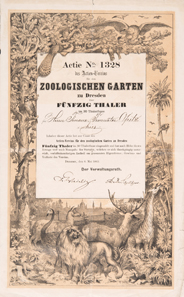 Actien-Verein für den Zoologischen Garten zu Dresden, Aktie über 50 Taler vom 8. Mai 1861.
