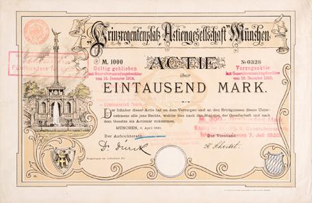 Prinzregentenplatz Actiengesellschaft, München, Aktie zu 1000 Mark vom 6. April 1900.