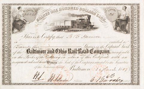 Baltimore and Ohio Rail-Road Company, Baltimore, 25 Aktien über zusammen 2500 Dollar vom 3. März 1857.