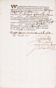 Oost-Indische Compagnie, Rotterdam, Obligation über 3000 Gulden vom 30. August 1653.