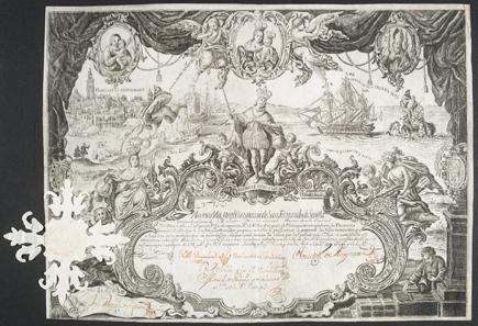 Real Compania de San Fernando de Sevilla, Aktie über 250 Pesos vom 23. August 1748.