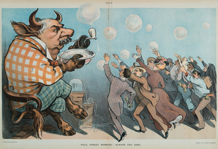 Karikatur auf den Bankier J. Pierpont Morgan: Wall Street bubbles - Always the same. Aus Puck, New York, 22. Mai 1901.