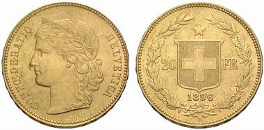 Switzerland. 20 franks 1896, Bern. From auction sale Münzen & Medaillen GmbH 22 (2007) 1750.